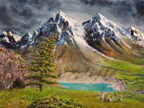 Acrylic Simple Landscape Painting Mountain Lake / Akrilik Tablo Dağda Göl Manzara Resmi Çizmek.