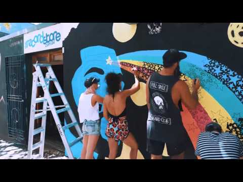 Painting a mural of The Weeknd