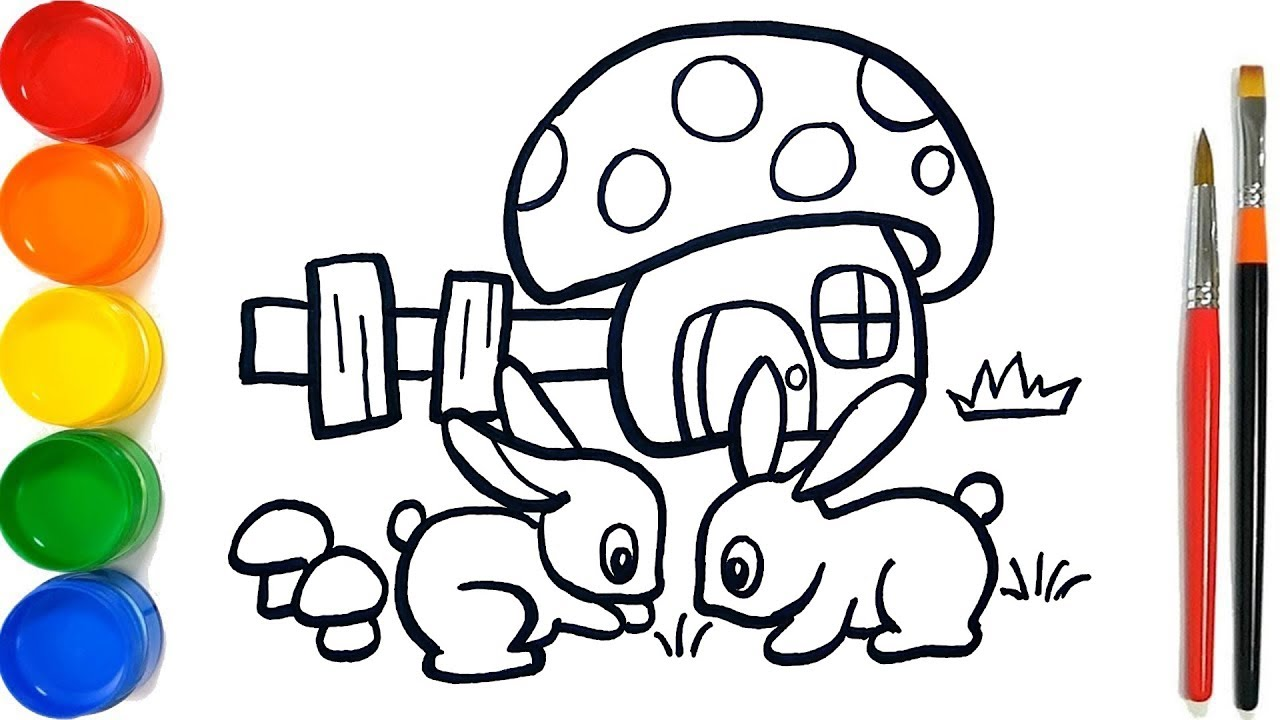 Glitter rabbit mushroom house coloring pages for kids cara menggambar dan mewarnai kelinci