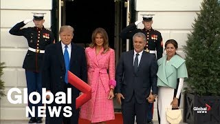 Donald and Melania Trump welcome President and First Lady of Colombia to the White House