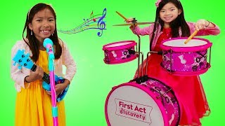 Emma & Wendy Pretend Play with Musical Instrument Toys for Kids & Sing Nursery Rhymes thumbnail