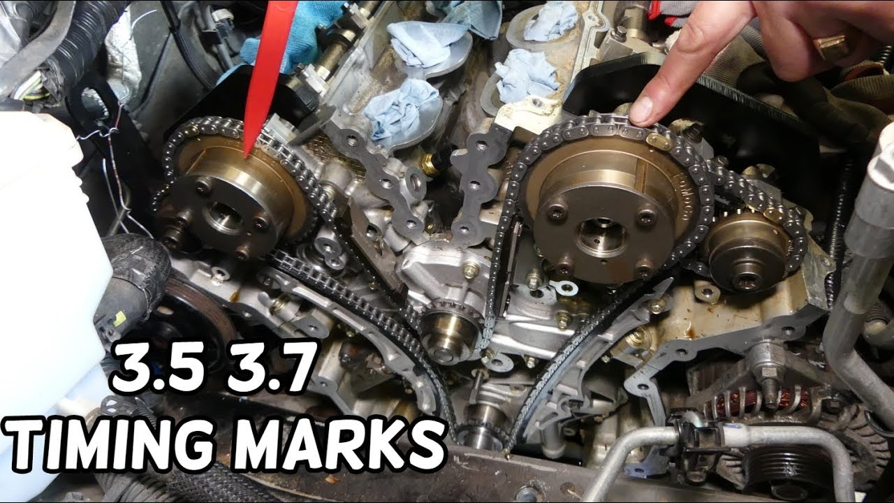 TIMING MARKS FORD LINCOLN MAZDA 3.5 3.7 V6 ENGINE. TIMING CHAIN MARKS -  YouTubeYouTube