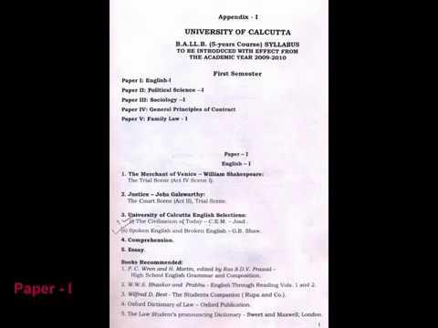 1st Semester B A LLB Syllabus, University of Calcutta.
