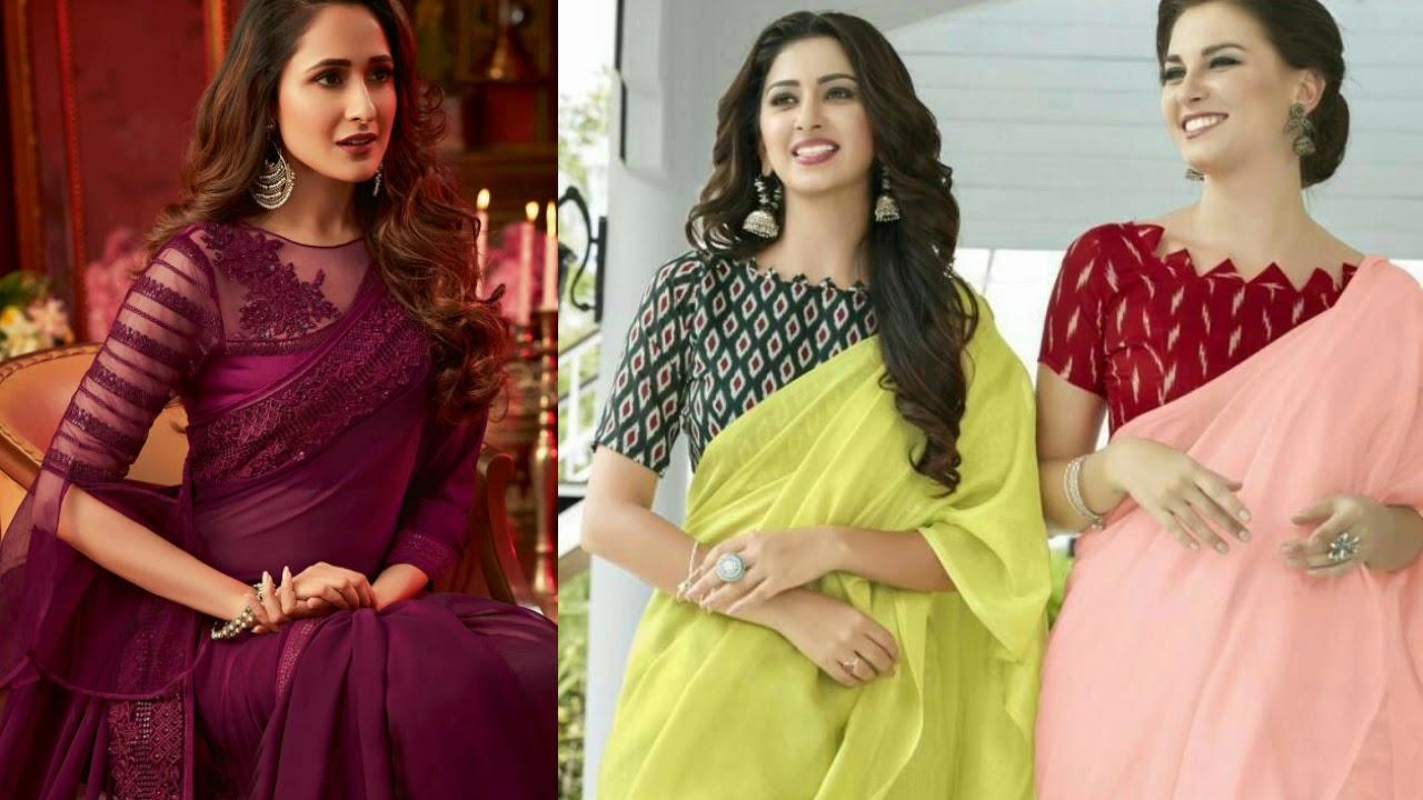 New plain saree with latest blouse Design Ideas || Plain Saree Designs