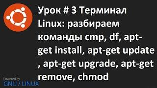 Видео урок 3   Терминал Linux команды: cmp, df, apt get install, remove, update, upgrade, chmod