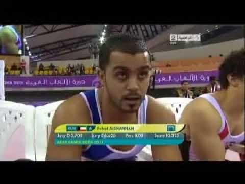 Arab games in Qatar 2011 gymnastics HIGH BAR   YouTube