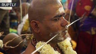 Pilgrims pierce bodies and walk over hot coals celebrating Thaipusam in India (GRAPHIC)