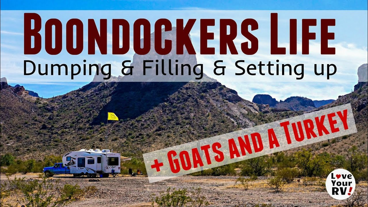 slice-of-rv-boondocking-life-dump-fill-and-setting-up-camp-goats-and-a-turkey