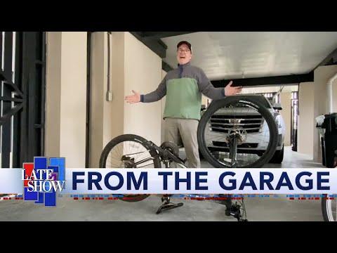Stephen Colbert Changes A Bike Inner Tube