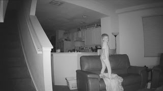 Mischievous 6-Year-Old Boy Caught on Surveillance Jumping on Couches In Middle of Night
