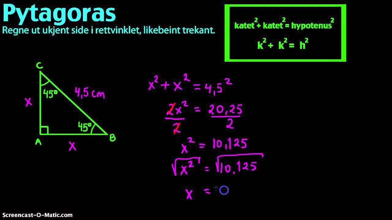 Rettvinklet trekant to ukjente sider