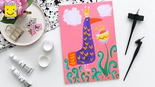 Как нарисовать Жар-Птицу - урок рисования для детей от 4 лет, гуашь,  рисуем дома поэтапно(Дети рисуют пошагово, сказка, гуашь. Подписывайся на Мир Дизайна - https://vk.com/design_is Получи порцию вдохновения., 2016-08-06T15:02:12.000Z)