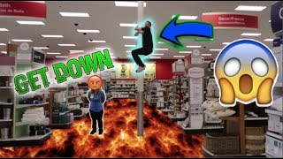 FLOOR IS LAVA CHALLENGE IN STORES! (KICKED OUT)