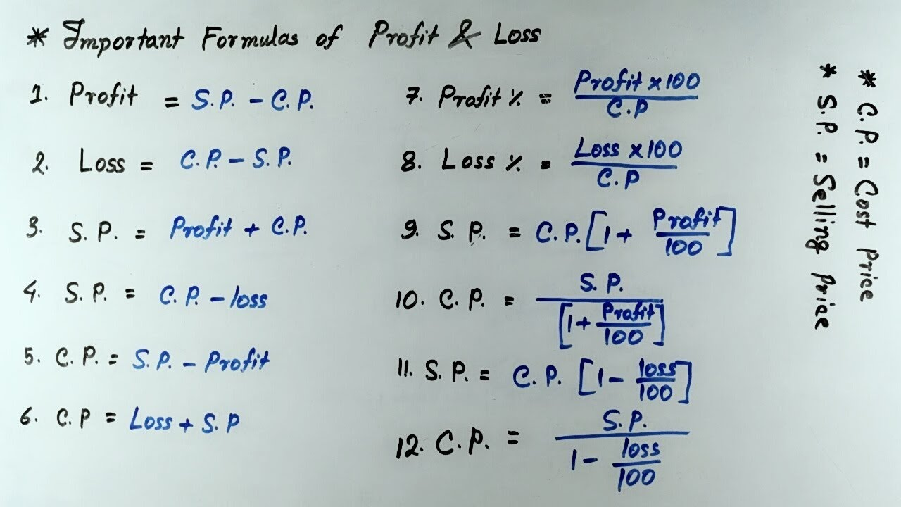 profit loss profit and loss important formulas youtube