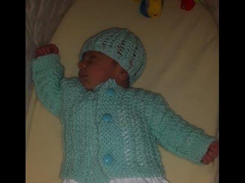 Como tejer abrigo de bebé recien nacido para principiantes - YouTube