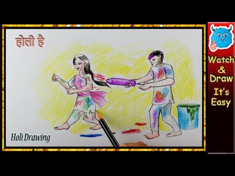 How to Draw Holi Festival Scenery Easy Holi Drawing Picture