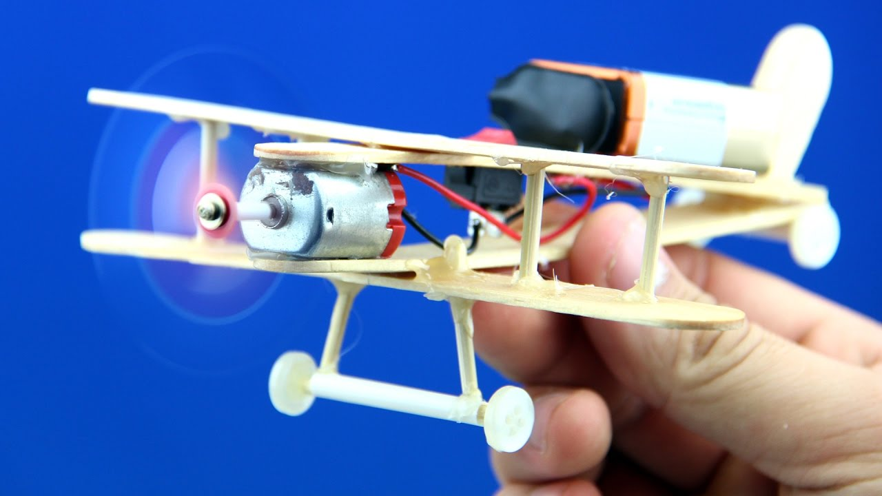 How to make a dc motor plane toy wooden plane diy youtube for How to create a motor