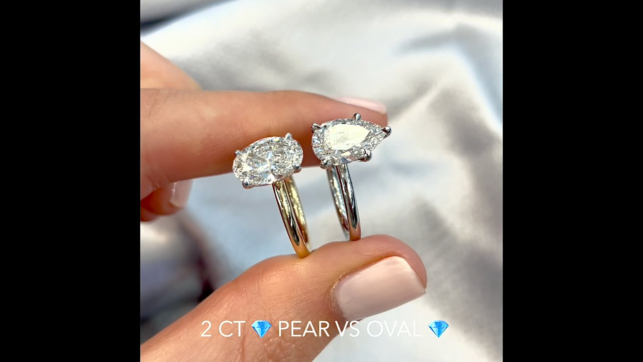 2 carat Oval VS Pear Shape Diamond Rings
