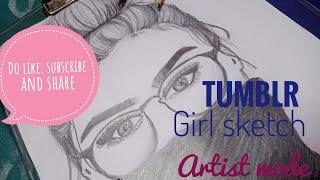 Tumblr girl sketch (messy bun & glasses)