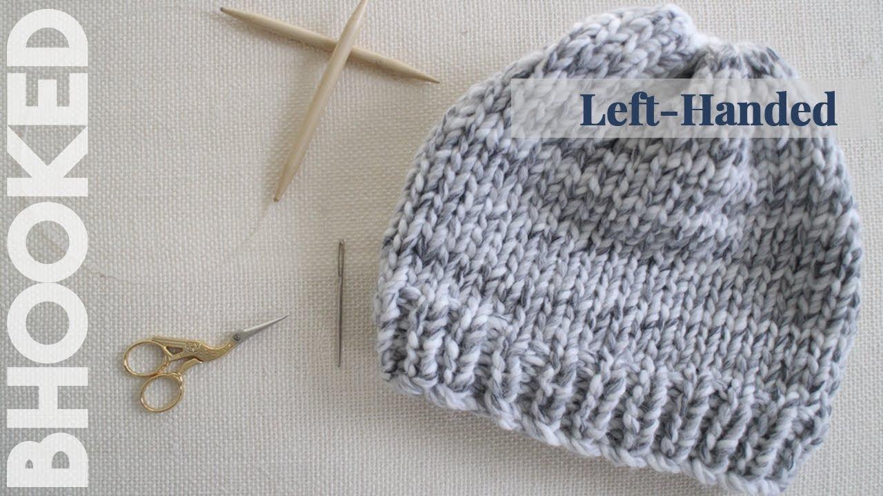 Knitting Instructions For Beginners Left Handed : How to knit a hat for beginners left handed youtube