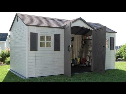 lifetime 6446 15 by 8 foot outdoor storage shed with shutters windows and skylights - Garden Sheds With Windows