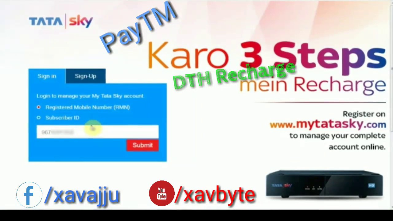 Karo 3 steps main DTH recharge    via Paytm recharge