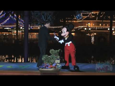 World of Color premiere event with talking Mickey Mouse at Disney's California Adventure