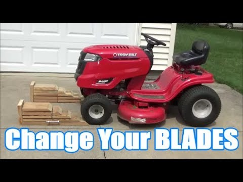 Change Your Riding Lawn Mower Blades Without Taking Off The Deck Troy Bilt Pony Youtube