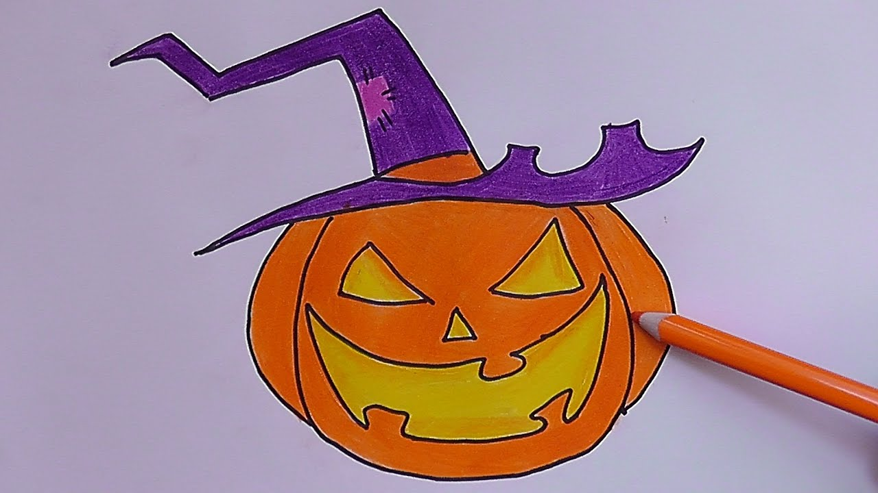 Dibujando y pintando a calabaza malvada drawing and painting a pumpkin evil youtube - Calabazas de halloween pintadas ...