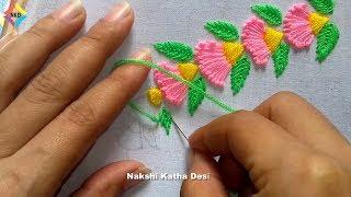 Hand embroidery   Border design   nakshi katha design.