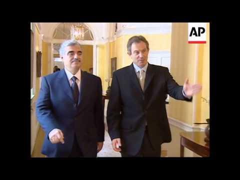 Handshake between UK PM and Lebanese PM