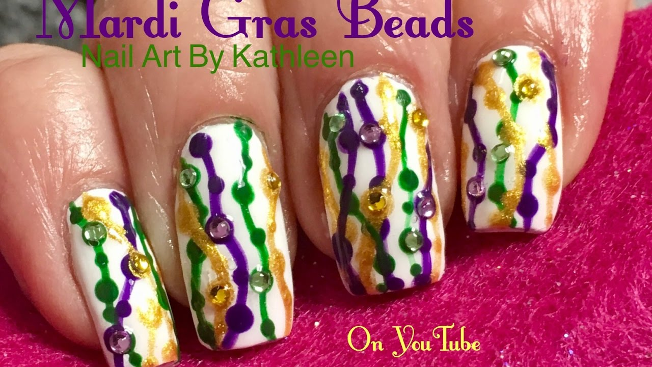 Mardi Gras Beads Nail Art - Easy DIY Tutorial - YouTube