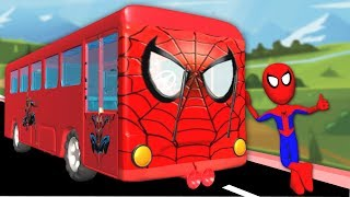 Wheels On The Bus Go Round And Round With Spiderman | Nursery Rhymes For Children Songs thumbnail