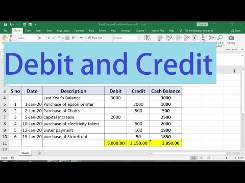 how to make debit and credit sheet in excel