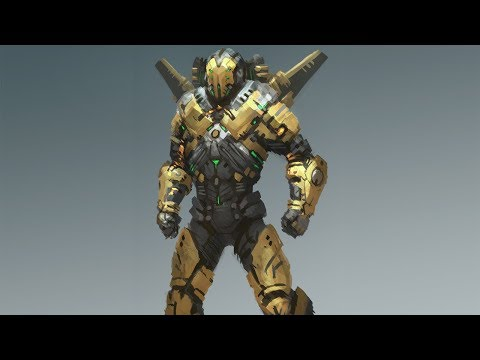 Mech character design digital painting process time lapse