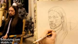 Обучение рисунку. Портрет. 11 серия: построение и легкая светотень