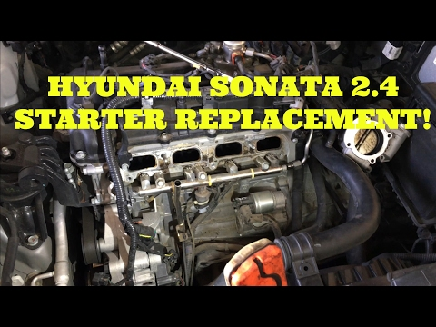 How to replace the starter in a 2 4L Hyundai Sonata - YouTube