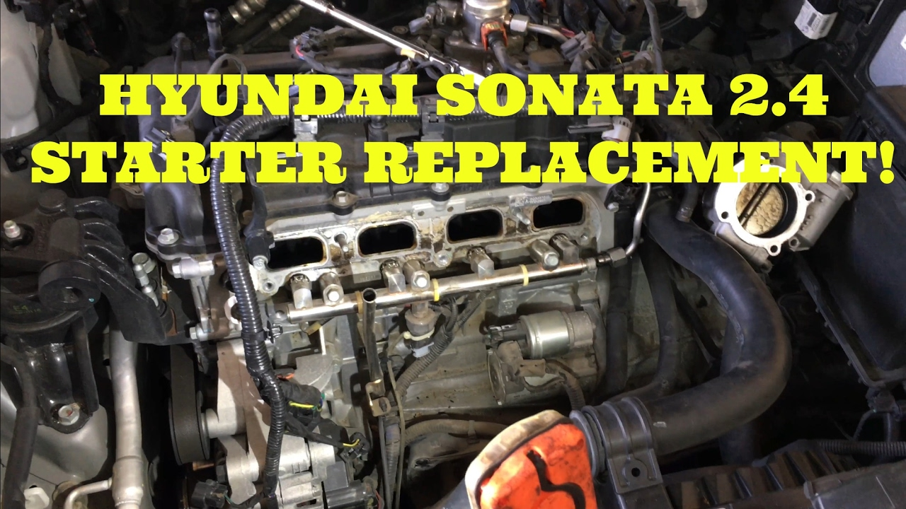 replace the starter in a 2.4L Hyundai Sonata - YouTube