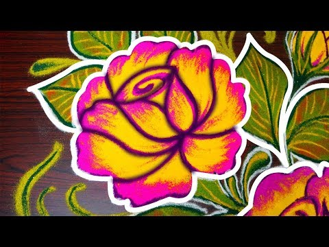 simple rose rangoli design for pongal - easy freehand kolam designs for margazhi - muggulu designs
