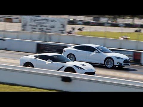Tesla Model S P85d Races C7 Corvette Stingray 1 4 Mile Drag Racing Hd You