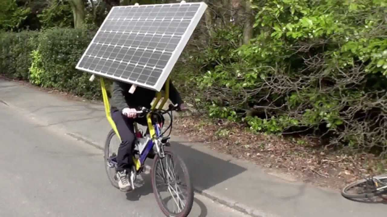 Image result for cyclist with solar panels