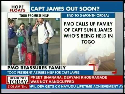 Captain James remains in custody in Togo
