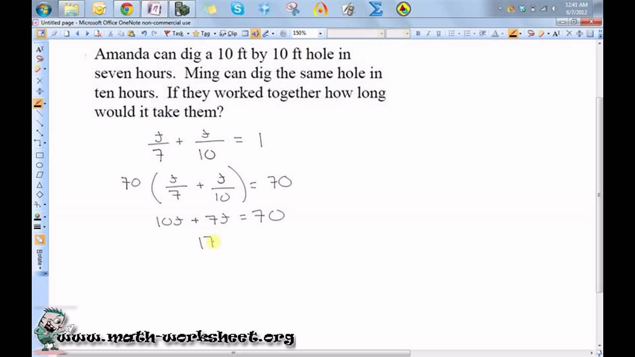 Work word problems Worksheets