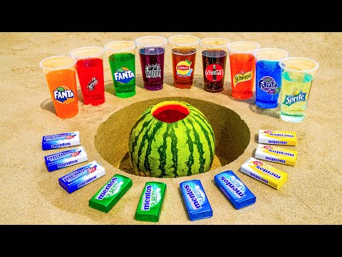 Sprite, Different Fanta, Lipton, Coca Cola & Other Sodas vs Mentos in Watermelon Underground!
