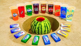 Sprite, Different Fanta, Lipton, Coca Cola & Other Sodas vs Mentos in Watermelon Underground!