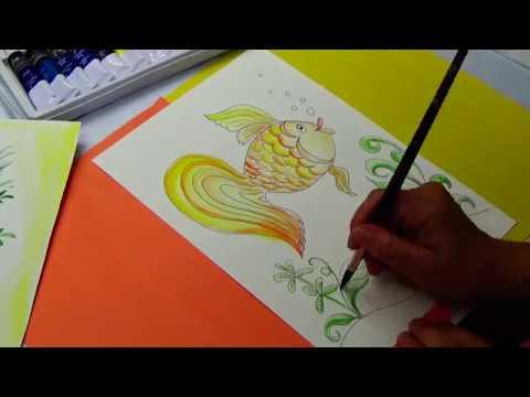 Как нарисовать золотую рыбку быстро и легко