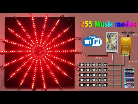 How to design a WiFi Music Sunshine LED Pixel Strip Light For Christmas Part Show - WS2812B