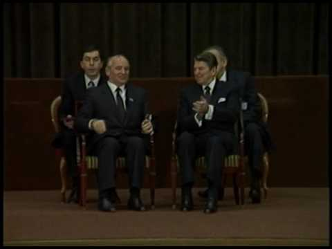 President Reagan and Mikhail Gorbachev at the International Press Center on November 21, 1985