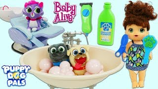 Disney Jr Puppy Dog Pals Get Bubble Bath and Hair Grooming from Baby Alive Salon!