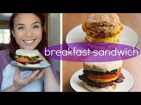 """Vegan Breakfast Sandwich // Sausage Biscuit & """"Egg"""" Muffin"""